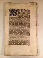 Königliche Preussen Gesetzesblatt  1715 Friedrich Wilhelm Blaspil