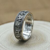 Real 925 Sterling Silver Ring Men's Lection Om-Mani-Padme-Hum Size 7 8 9 10 11
