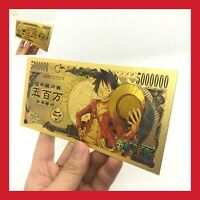 BILLET TICKET FIGURINE ONE PIECE MANGA MONKEY LUFFY CARTE COLLECTOR GOLD OR JEU