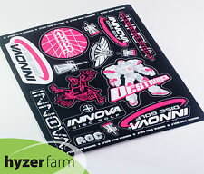 INNOVA PINK STICKER SHEET #2 Fifteen Four Color Stickers disc golf Hyzer Farm