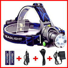 LED Headlamp Flashlight Head Band Light Waterproof Hand Free Strap On w/ CHARGER