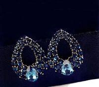 Women's Elegant Charm Blue Rhinestone Crystal Ear Stud Dangle  Earring  Jewelry