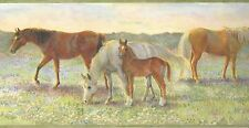 Wallpaper Border Pastel Horse Pasture Pony Border Green Edge