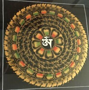 "HANDMADE Tibetan Thanka Mantra Mandala Thangka 9""x9"" Canvas Painting Nepal 27712"