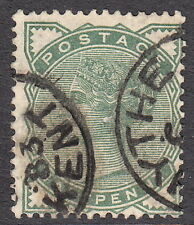 SG164 ½d Deep Green. Hythe Kent 1883 CDS - Surface printed QV GB