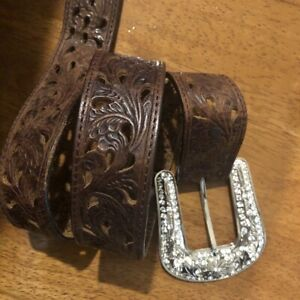 Tony Lama Brown Tooled Leather Belt Rhinestone Etched Buckle Size 30 Cut Outs