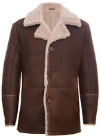 Mens Brown German Classic Real Sheepskin Shearling Leather Cromby Jacket Coat
