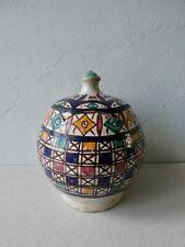 ancien pot à beurre, jobbana, en céramique, poterie de Fès Maroc, signé