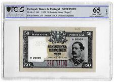 More details for 1953 portugal portugese 50 escudos banknote specimen tdlr p160 gem unc 65 opq