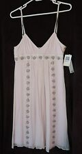 NWT Maria Bianca Nero Pale Pink Empire Embroidered Silk Dress Bloomingdale's M