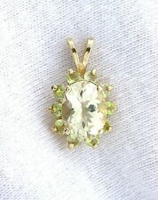 14Kt Yellow Oval Sunstone Peridot Gemstone Gem Stone Cluster Pendant EBS299EP1