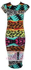 Summer/Beach Round Neck Animal Print Dresses for Women