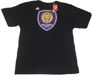 MLS Orlando City Men's Adidas Black Go-To 100% Cotton Short Sleeve XLTee *NEW*