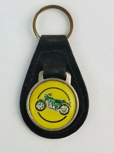 Vintage Motorcycle drawing leather keychain keyring FOB metal back logo Black
