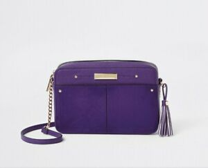 RIVER ISLAND purple tasseled boxy crossbody bag BNWOT