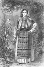 COSTUME. Wallachian Peasant-Woman-Pedro's wife 1880 old antique print picture