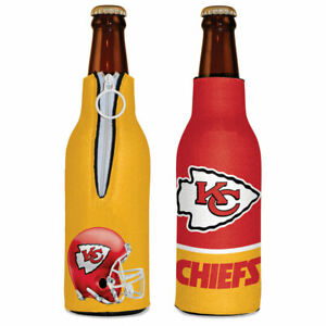 KANSAS CITY CHIEFS BOTTLE COOLER KOOZIE TWO SIDED NFL OFFICIALLY LICENSED NEW!