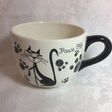 Paws Off Cat Kitty Coffee Soup Pet Pun Mug Black White