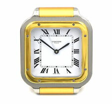 VINTAGE CARTIER SANTOS TRAVEL ALARM CLOCK GOLD TONE STAINLESS STEEL BOX PAPERS