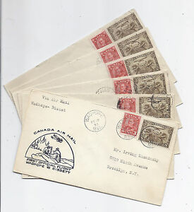February 15 1933 Manitoba Canada FFC Lot of 6 - Wadhope, Bissett, Great Falls
