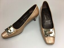 Donald J Pliner Kitten Heel Pumps Taupe Patent Leather Silver Buckle Size 7 N