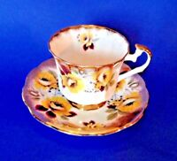 Elizabethan Pedestal Teacup And Saucer - Yellow Poppies And Gold Rims - England