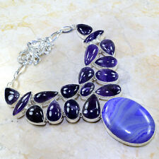 """GORGEOUS! STATEMENT BOTSWANA AGATE+AMETHYST SILVER NECKLACE 19 1/2"""",125 GRAMS"""