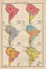 1942 MAP SOUTH AMERICA SHOWING TEMPERATURE RAINFALL RACES DENSITY OF POPULATION
