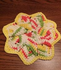 Multi-Color Cotton Star Flower Hand Crocheted Hot Pad Dish Wash Cloth Trivet