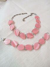 Vintage Lisner Demi Parure Set silver tone Necklace Bracelet pink Lucite Leaves