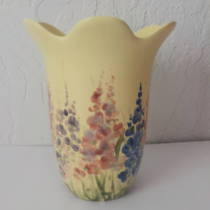 Vintage VTG Flowers Vase Clay Soft Yellow Blue Pink from Chile 8x6 Ceramic