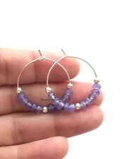 Daisylime Silver Plated Hoop Earrings Natural Stone amethyst Chakra  Beads