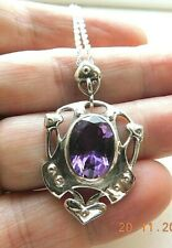 Arts and Crafts Style Sterling Silver and Amethyst Necklace February Birthstone