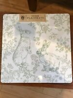 Set Of 4 Benson Mills Green White Easter Bunny Rabbit Square Cork Placemats NEW