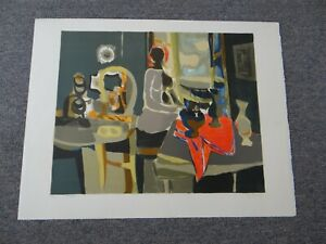 "MARCEL MOULY (1918-2008) Genuine Lithograph 24x30 ""Nude w/Red Tablecloth"" Signed"