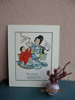 antique illustration of Japanese mother and her baby by Katharine Sturges 1925