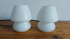 Vintage pair of Ikea Glass Bedside Table Lamp White - Mushroom Style