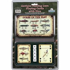 Antique FISHING LURE Playing CARDS & DICE SET Poker Texas Hold em Solitaire