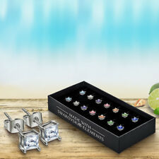 Set of 7 Spring Square Earrings with Swarovski ® Stud Ear Ring in Nice Gift Box