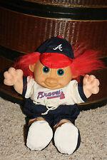 "Troll Doll 11"" Russ Berrie Plush Soft Body ATLANTA BRAVES Baseball Uniform B8"