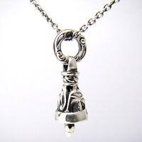 Sterling Silver Bell Pendant Chain Necklace Set Celtic Pattern 925 Gift Idea