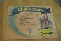 "Vintage RARE 1957 ""DISNEYLAND Hotel~CHILD'S MENU""~Dumbo~Castle~TINKER BELL~"