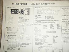 1969 PONTIAC 400 CU IN HIGH COMPRESION 290 HP 2 BBL CARB SUN TUNE UP SPECS SHEET