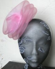 baby pink feather fascinator millinery burlesque headband wedding hat hair