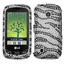 Bling Rhinestone Protector Case for LG Cosmos Touch VN270 - Black Zebra