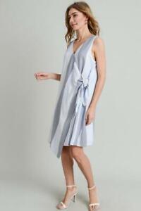 Doe & Rae Sleeveless Wrap Dress in Blue