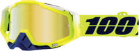 100% RACECRAFT Tanaka MX Motocross Goggles Yellow with Gold Lens Green | Blue