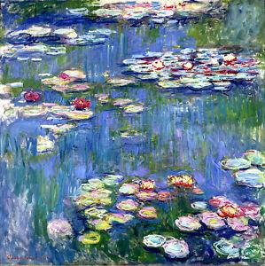 Claude Monet Water Lilies 2 canvas print 11.7X11.7 art reproduction poster