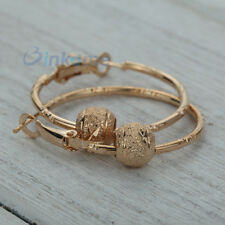9K Yellow Gold Plated bead pendant Hoop Earrings women fashion jewelry gift
