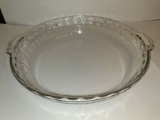 """Vintage Pyrex # 229 Clear Glass Deep Dish 9.5"""" Scalloped Fluted Edge Pie Plate"""